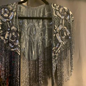 Beaded shawl cover up festival cape